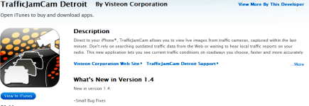 Visteon TrafficJamCam shows live views from traffic cameras in your area
