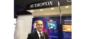 DICE's Steve Witt at Audiovox Driven by DICE display at CES